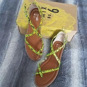 Mix No. 6 Neon snake print sandals NWT
